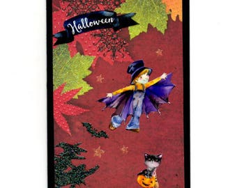 306 - Halloween Pumpkin witch black cat and witch greeting card