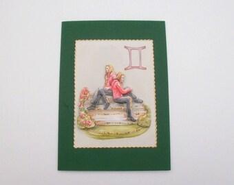 greeting card of the Gemini zodiac sign