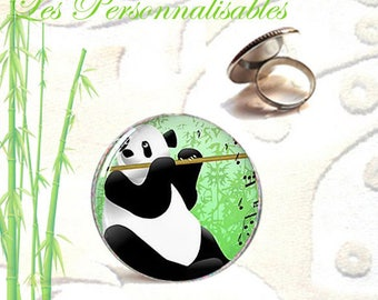 Adjustable ring 25mm antique silver flute penda bear...
