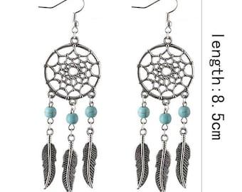 pair of silver dreamcatcher earring