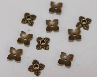 Bead caps, bronze 6 mm, set of 10