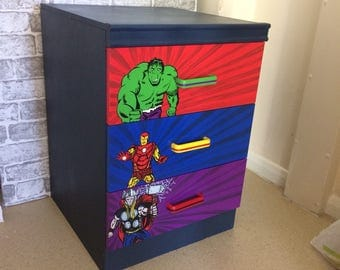 Handpainted Avengers chest of drawers