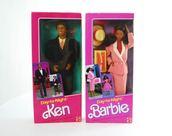 1984 Day-to-Night Barbie #7945, Day-to-Night Ken #9018 Lot of 2