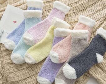 Pastel fuzzy socks, winter socks, warm socks, cozy socks, sleep socks, gift for her, special occasion