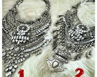 Silver Metal Statement Necklace Punk Rock Dylanlex Style Crystals Geometric Spikes Bohemian Tassels