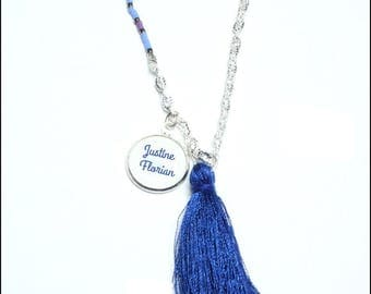 personalized necklace (names) Blue
