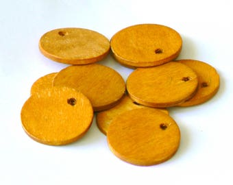 Pearl orange brown wood round 26mm x 6
