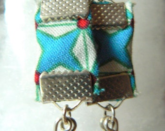 cream with a touch of red and green charm Pearl Earrings blue liberty style silver metal