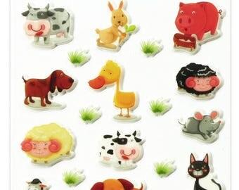 "Stickers Cooky relief ""Farm animals"" x 28 - MAILDOR - Ref 560352"