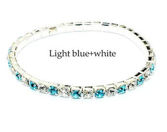Sold Out   1 Row Crystal Bracelet Auden Rhinestone Bling Size: small elastic( but dont fit big wrists) Light Blue & White SOLD OUT