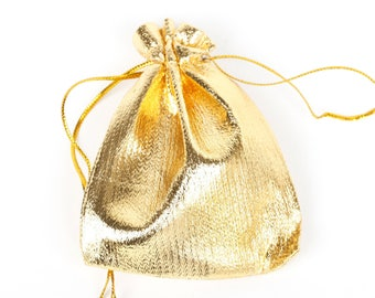 10 sachets, wedding party jewelry gold 7x9cm Velvet Gift pouches