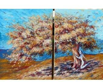 L'arbre et la fée - peinture à l'huile diptyque - fleurs printemps elfe des bois hibou paysage féérique forêt fantastique bleu orange déco