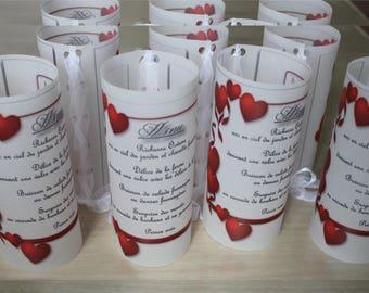menu candle wedding framed red hearts