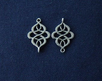 2 charms Arabesques diamonds in silver