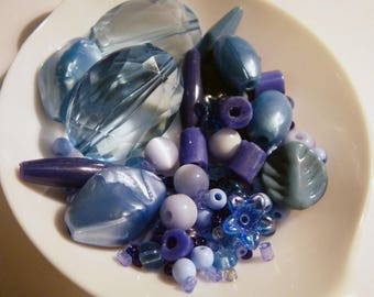Set of mixed blue beads - shapes and sizes vary