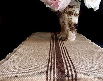 "12.5"" Inches X 108 Inches BROWN Burlap Table Runner with Stripes"