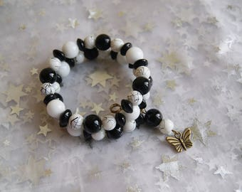Butterfly and white and black memory Wire Bracelet