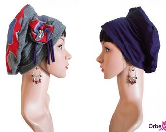 """Chemo REVERSIBLE beret """"Nadine"""" & its removable fabric flower"""