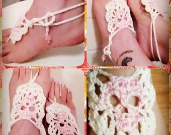 Crocheted Pink Skull Barefoot Sandals