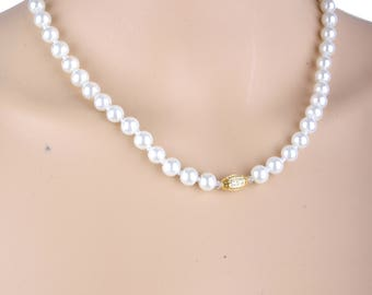 Pearl necklace , wedding necklace, prom necklace,gold necklace