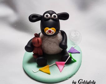 Cake Topper (cake decoration) polymer clay Kawaii sheep Timmy