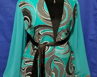 Teal Blue, Black, White Ankara and Chiffon Kimono