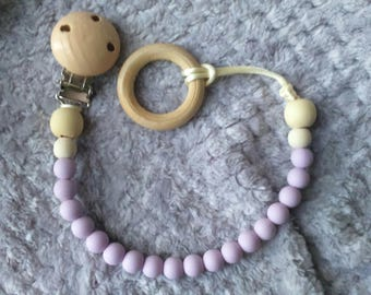 Pacifier clip, purple silicone beads