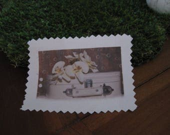 Image transfer, to sew, vintage, suitcase, flowers