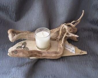 Candle holder, decor, driftwood candle