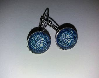 Earrings cabochon glass geometric pattern 1