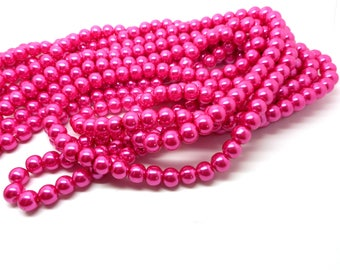 Set of 20 8mm Fuchsia glass beads