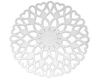 Set of 20 prints filigree steel 46mm SC65988 Silver Flower charm