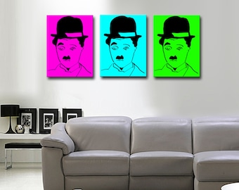 Triptych on canvas POP-ART CHARLOT 55 x 80