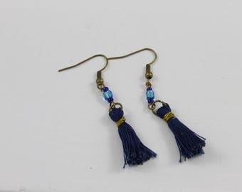 Navy Blue tassel earring