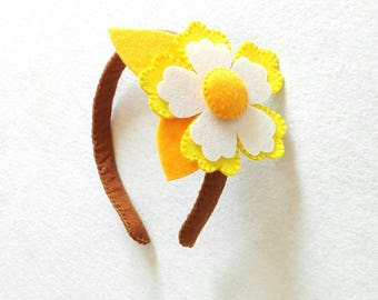 Headband for felt hair with flower.. Felt headband with Flower.
