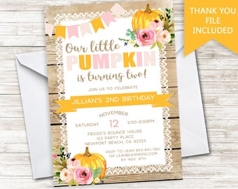 Pumpkin Birthday Invite Invitation Girls Rustic Digital Shabby Chic ANY AGE 5x7 Halloween Thanksgiving