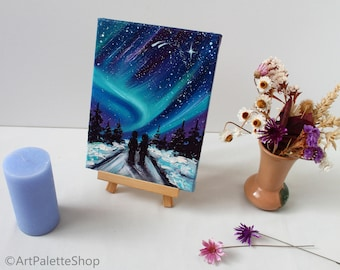 Love Couple Valentines day decor Northern Lights Small Oil Painting Forest Path Painting Love Winter Painting Path Canvas Art Lover Art