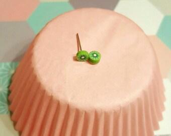 slice of Kiwi Fimo earrings