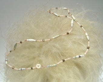 paper necklace glass beads and metallic inserts