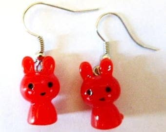 Red kawaii rabbits H1.5cmxL1cm earrings