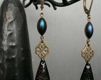 Black glitter dangle earrings
