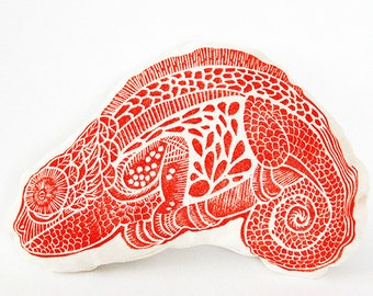 Pillows with decorative red Chameleon