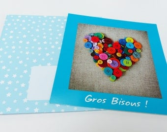 map love heart multicolor button with envelope