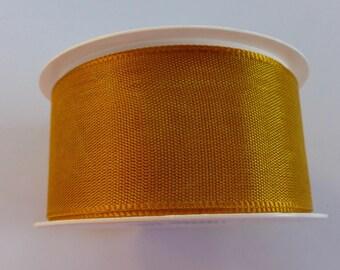 2 meters of 40 mm light brown satin ribbon