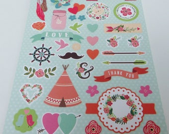 A4 images sheet pre-cut Indian teepee love heart flower mustache bird feather arrows