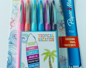 6 pens, markers, paper mate flair 6 new colors tropical tropic vacation point average coloring tropical tropical writing