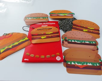Garland hamburger 15 meter string and 35 burgers cards party decoration
