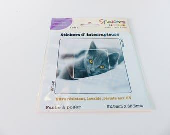 decorative switch 82.5 X 82.5 mm grey cat