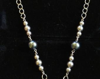 Trifari Blue  and gray beads on metal chain