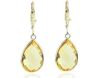 14K Yellow Gold Handmade Gemstone Earrings With Dangling Pear Shape Citrine